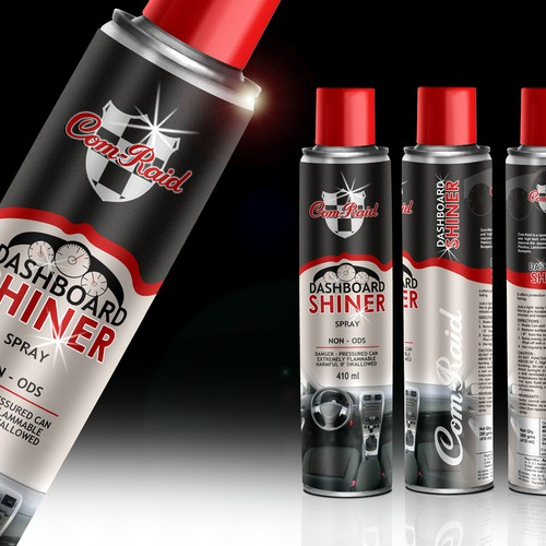 Com -Raid - Dashboard shiner spray - label - packaging