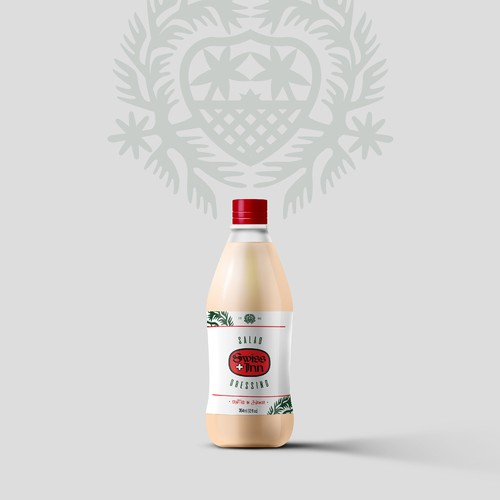 Label Design for Swiss Inn - a popular, historical hawaiian dressing salad brand.