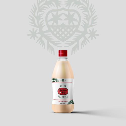 Label Design for Swiss Inn - a popular, historical hawaiian dressing salad brand.