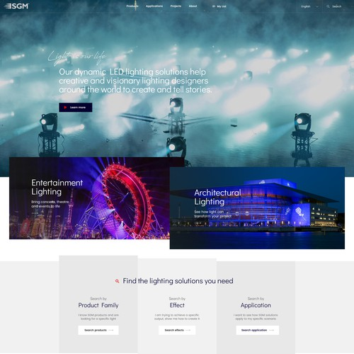 Modern an minimalistic website design for lighting company