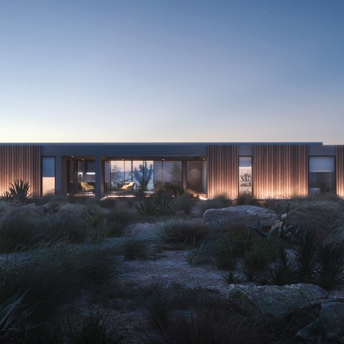 Exterior rendering for rocky desert house