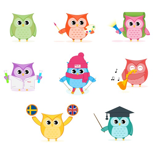 Owl mascot for daycare centers.