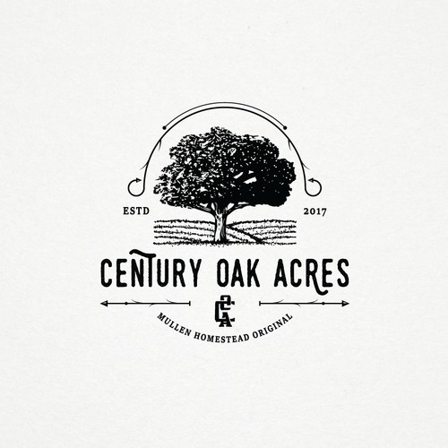 Hand drawn tree concept for Century Oak Acres