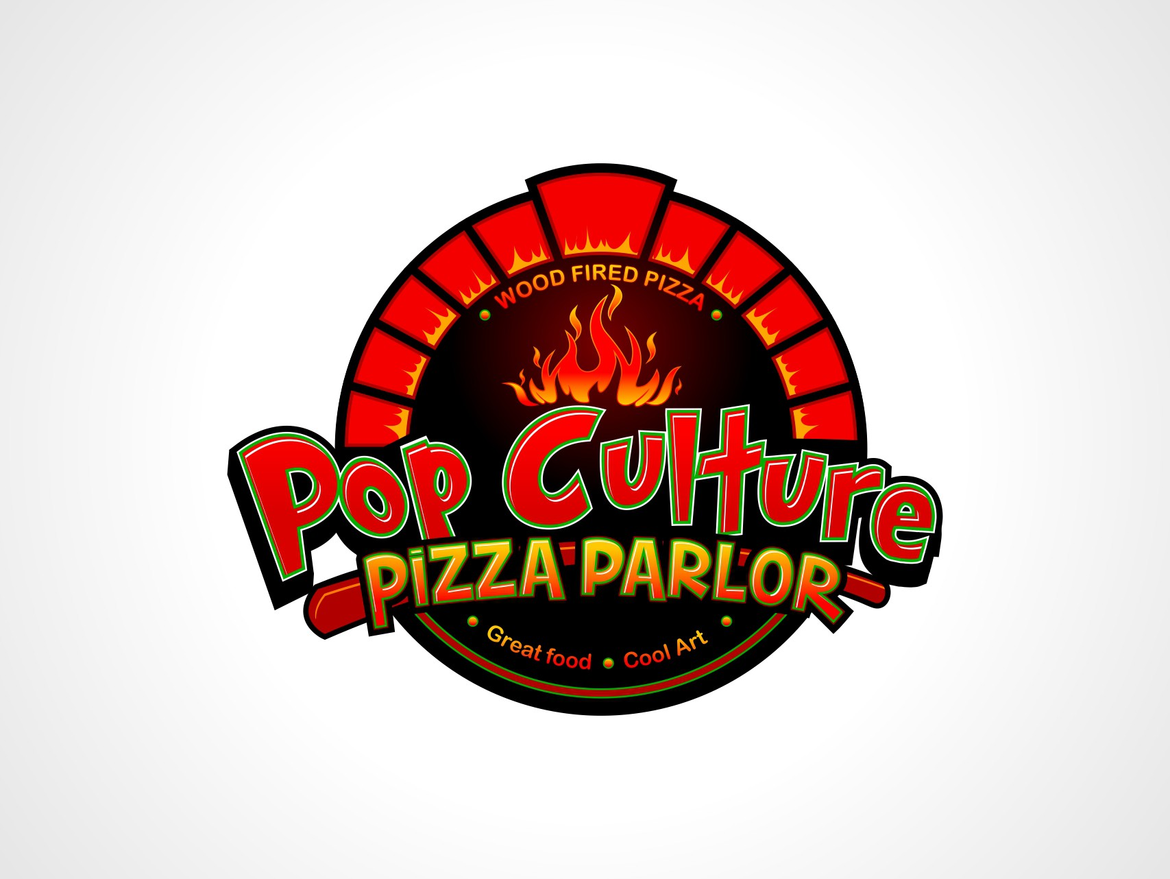 Create Logo for Wood fired pizza parlor and bar that will have pop art and collectible decor