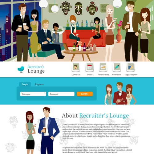 "We need a modern/groovy Landing Page for ""Recruiter's Lounge"""