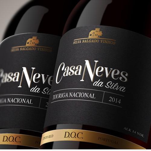 Wine label, neck and box design