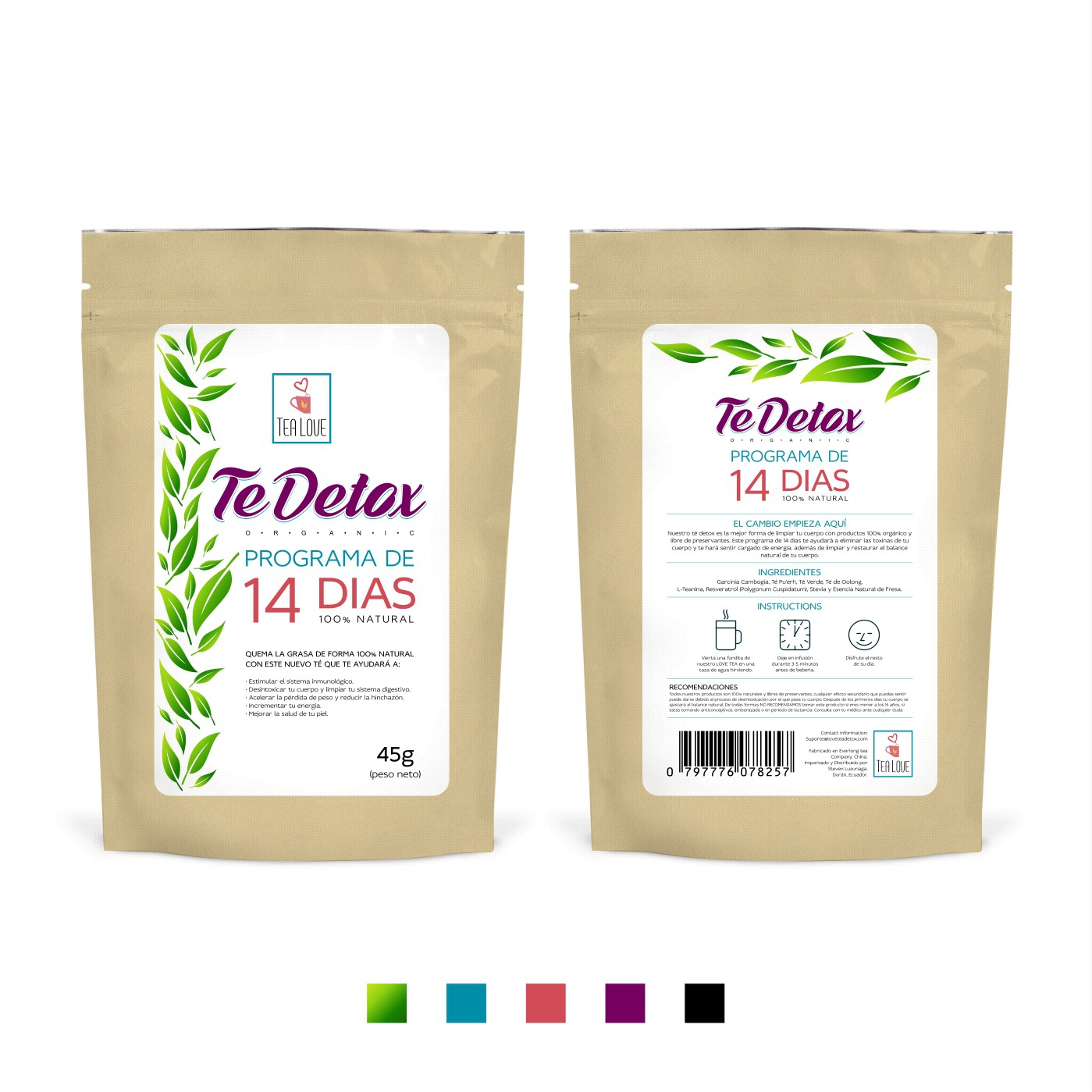 "Create a packaging STICKER for ""TEALOVE"" detox tea ( paperbag front and back side )"