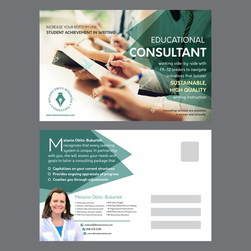 Postcard design for professional education consultant