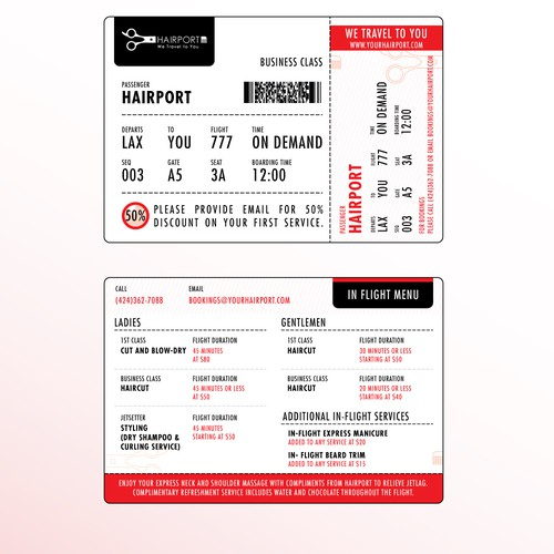 Boarding Pass Style Promotional Card