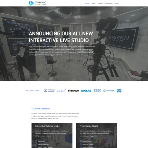 Design a very visual, clean/modern landing page for video company