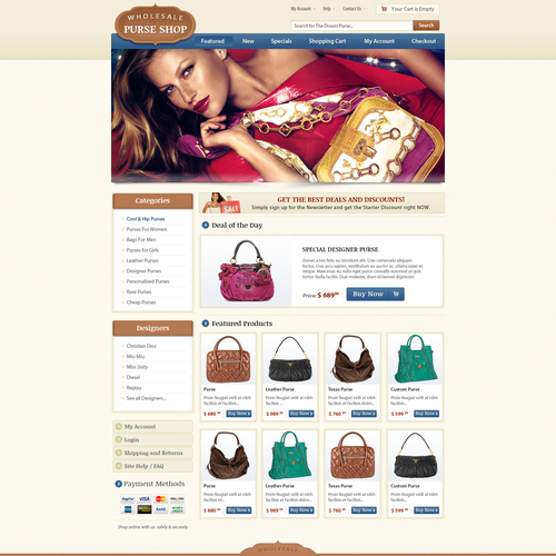 Help Wholesale Purse Shop with a new website design