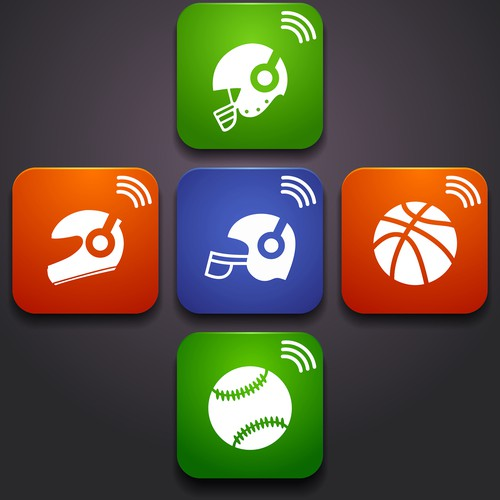 Design an app icon for a football sports radio app