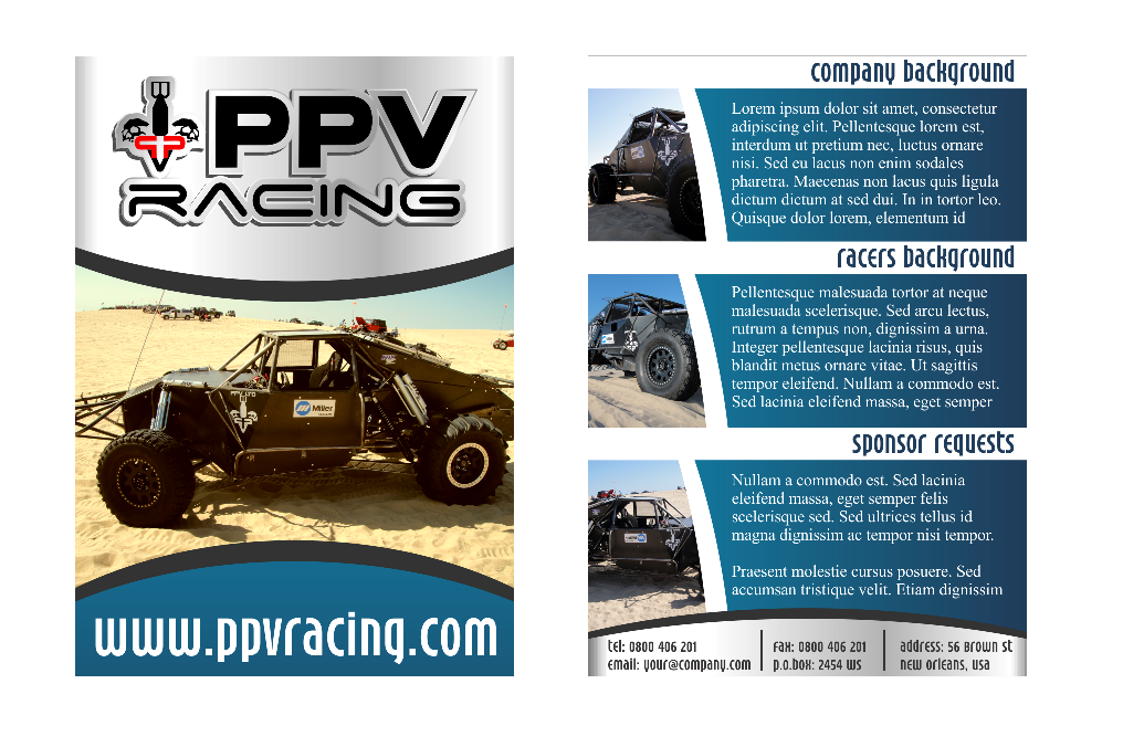 PPV Racing  needs a new print or packaging design