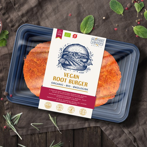 Label design for Vegan Root Burger
