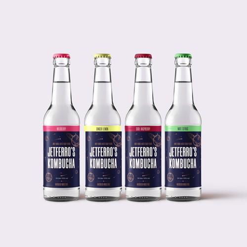 Packaging design for Jetferro's Kombucha