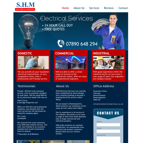 Electrical contractors modern web design.