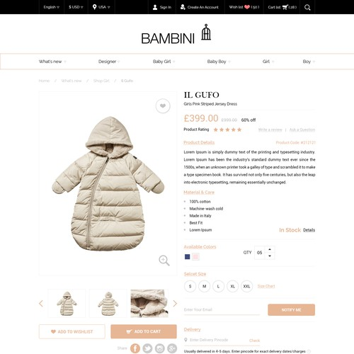 Product detail page design - shopify - children clothing