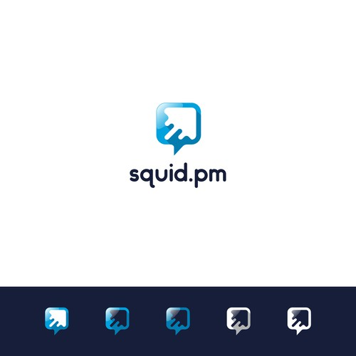 ( Chat Bubble + Squid + Arrow ) Logo
