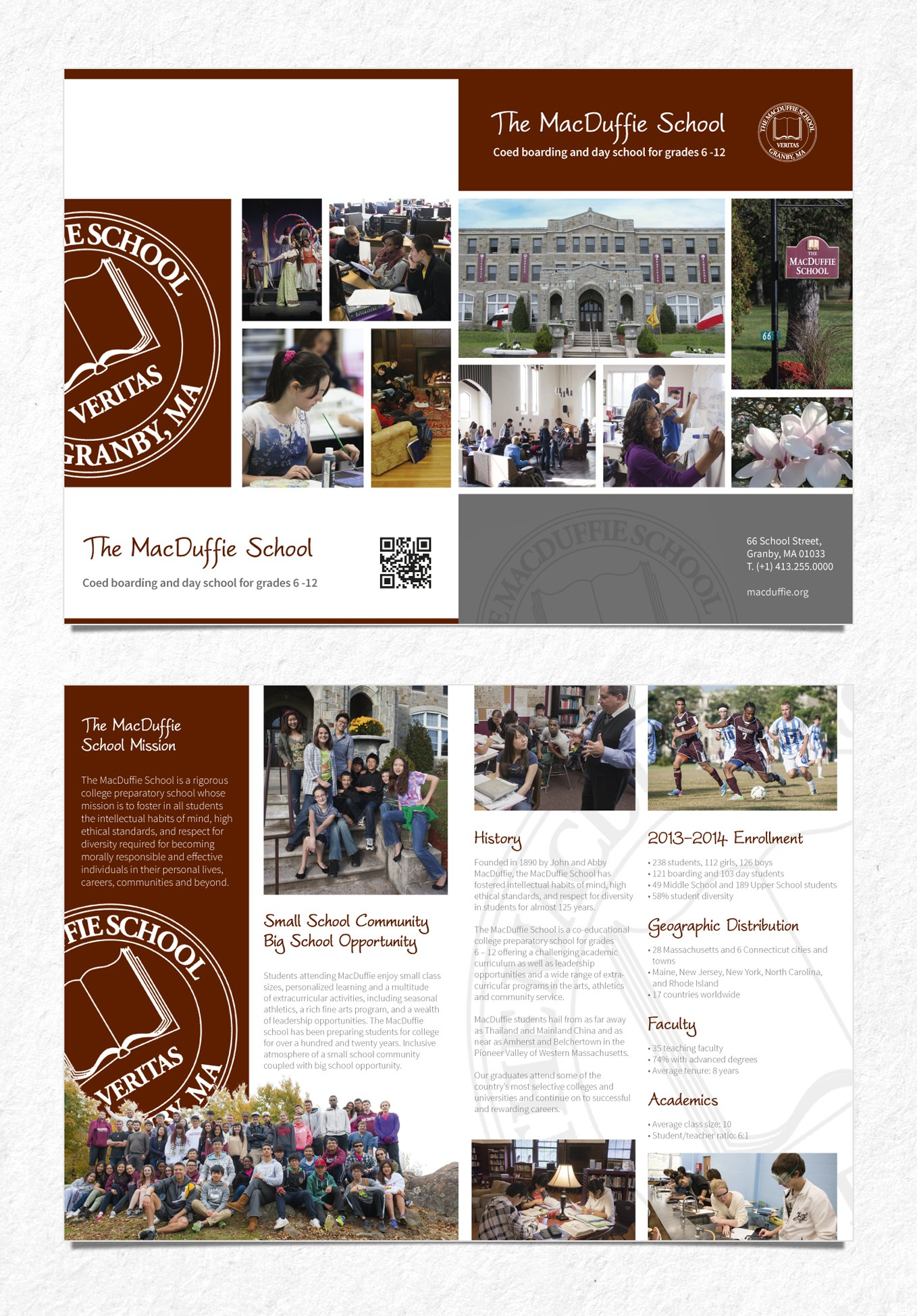 Create a new contemporary brochure for The MacDuffie School