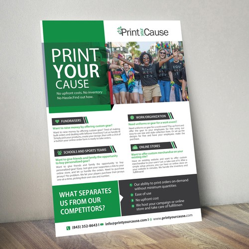 Sales Sheet for an exciting custom printing startup