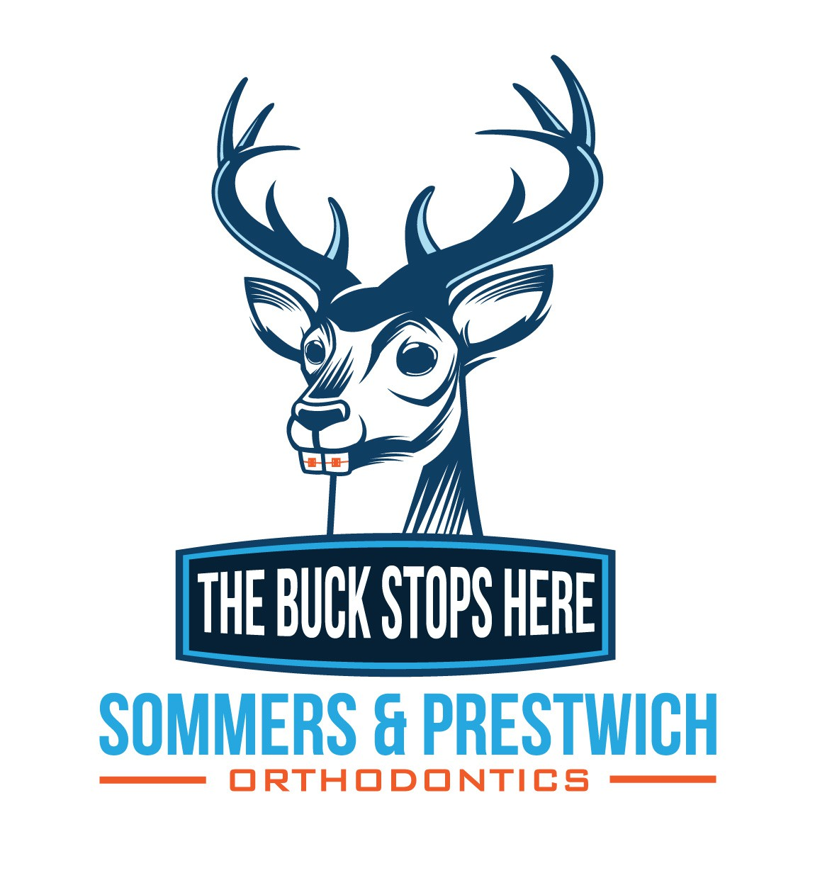 Create a buck-toothed buck illustration for an orthodontic office.