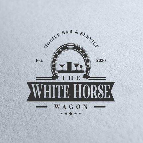 bold logo concept for white horse wagon