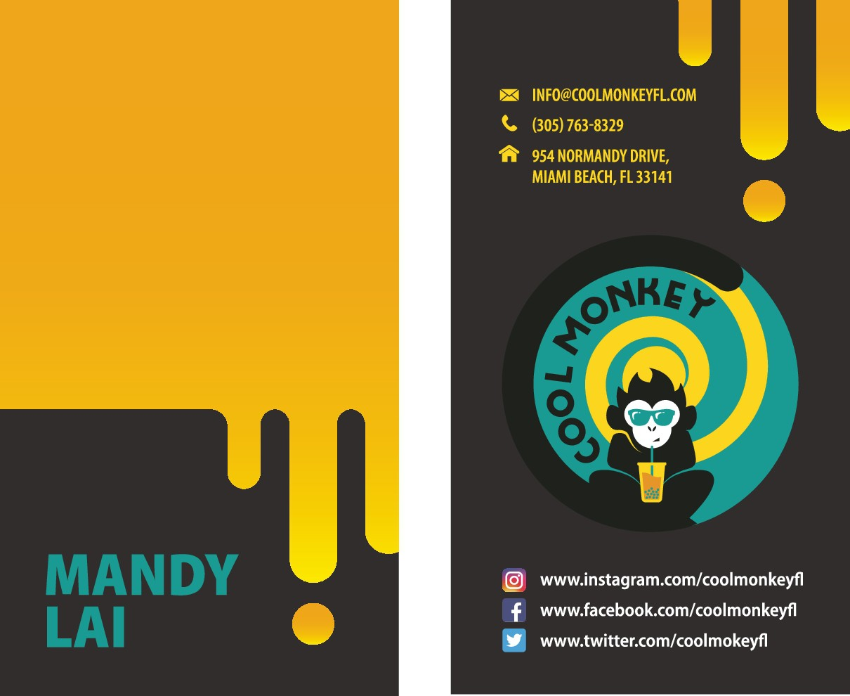 menu and business card for Cool Monkey