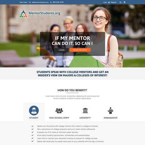 Create a home-page for a student mentoring project