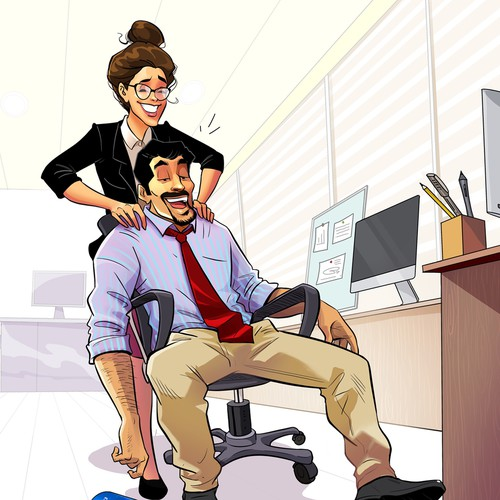 4 colorful funny Office Buddy Illustrations