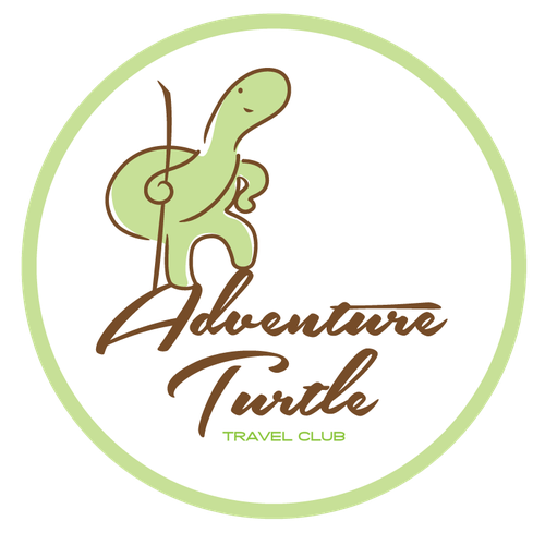 Playful Adventure Turtle mascot for Travel Club