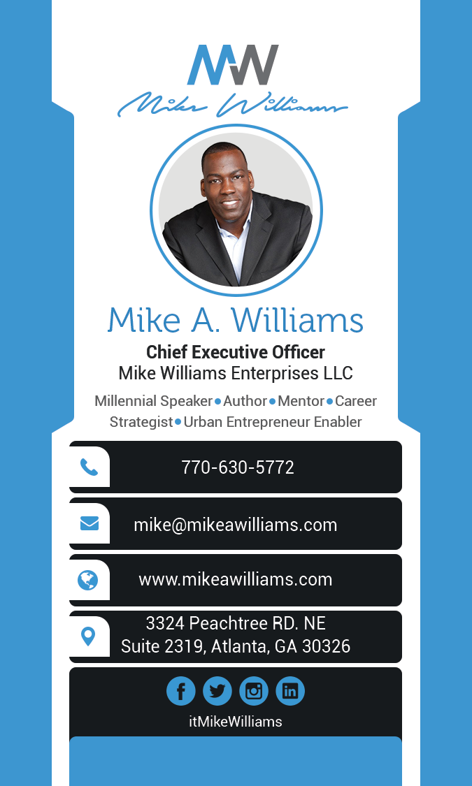 Business card for Mike Williams brand