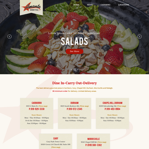 Web Design For Amante Pizza