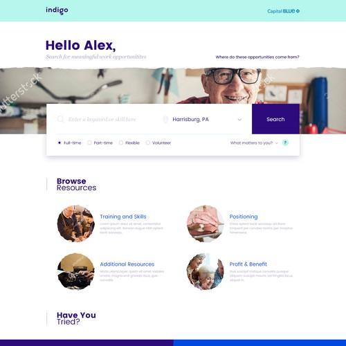 Search Homepage Design for Indigo