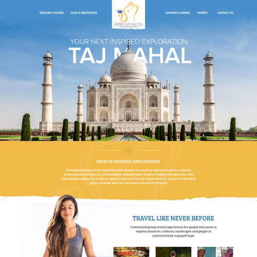 Bold and fun website for travel website
