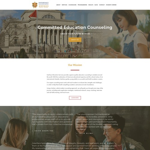 Interface Education Counseling Website Redesign