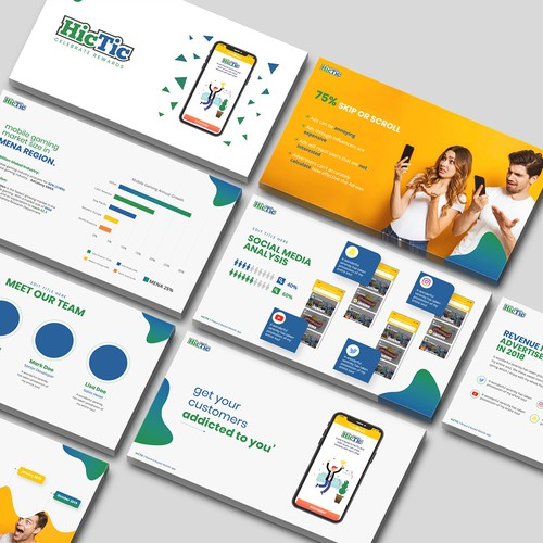 Mobile gaming app PowerPoint template - Contest Winner