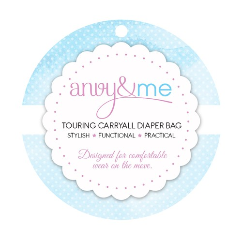 Simple label for stylish diaper bag
