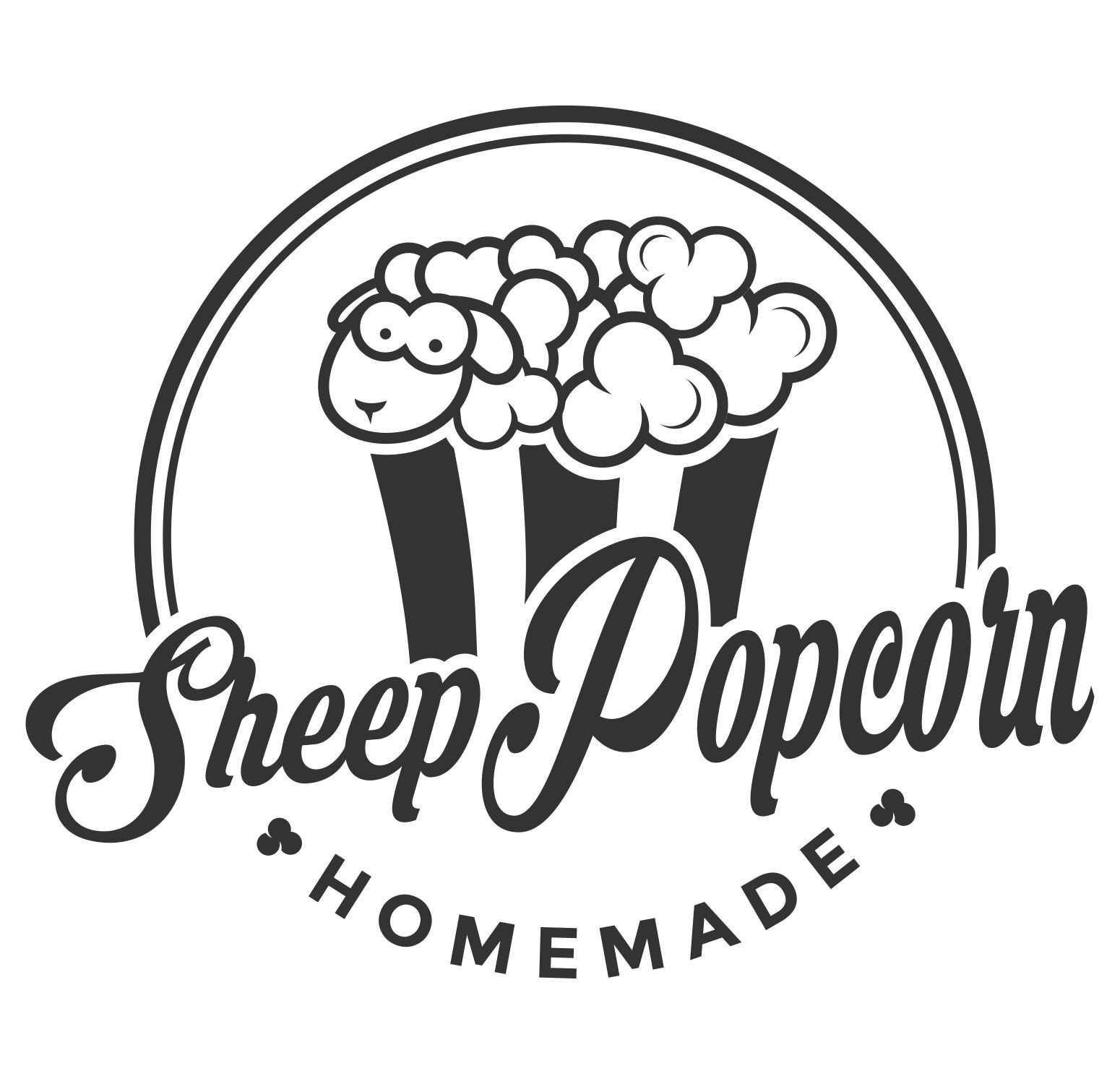 Innovative design for sheep popcorn logo (popped maize-fur)