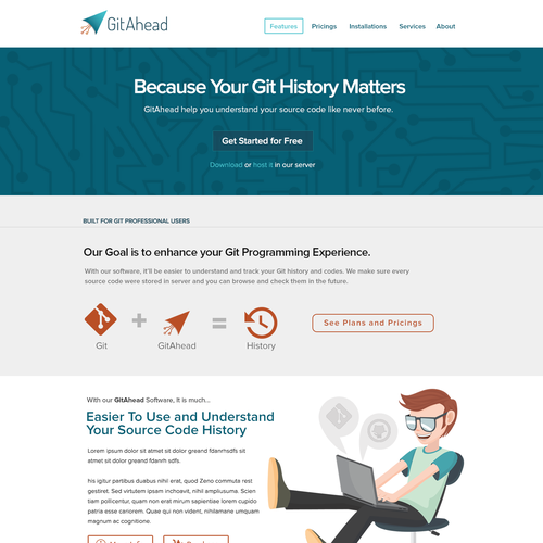 WordPress Landing Page for GitAhead