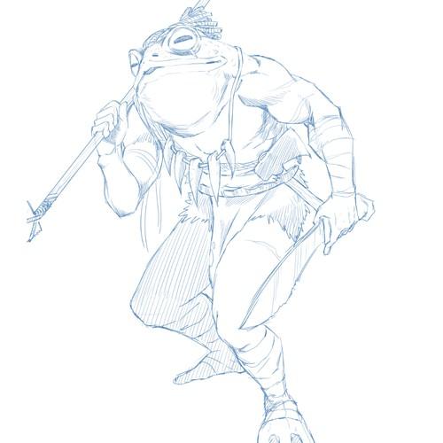 Amazon frog hunter character design