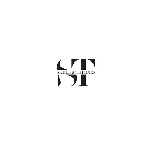 "Minimal Monogram design for barbershop Skull & Thrones ""S&T"""