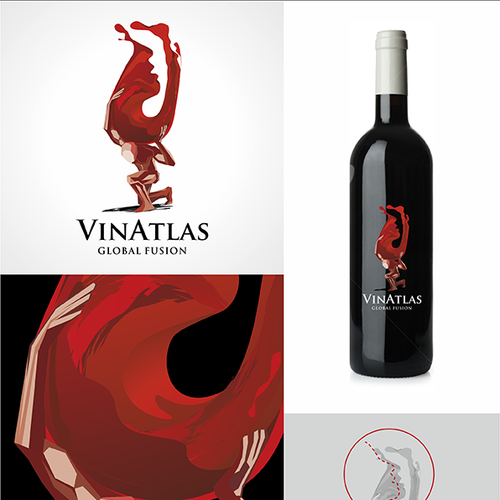 atlas statue and swirly wine that shapes like a face who would drink wine