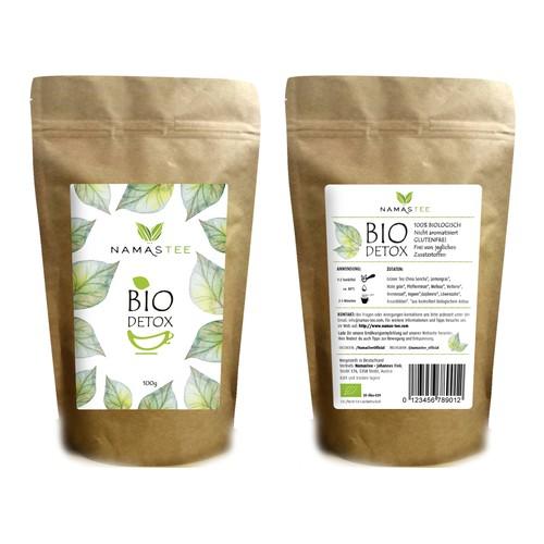 Label design for 100% natural tea
