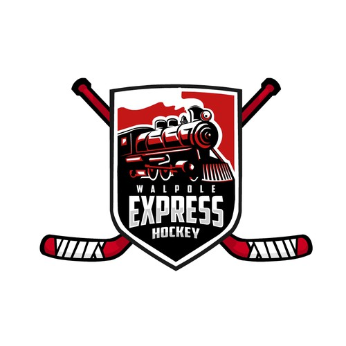 Bold Train Hockey Illustration logo
