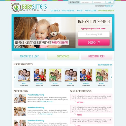 New website design wanted for Babysitters Australia