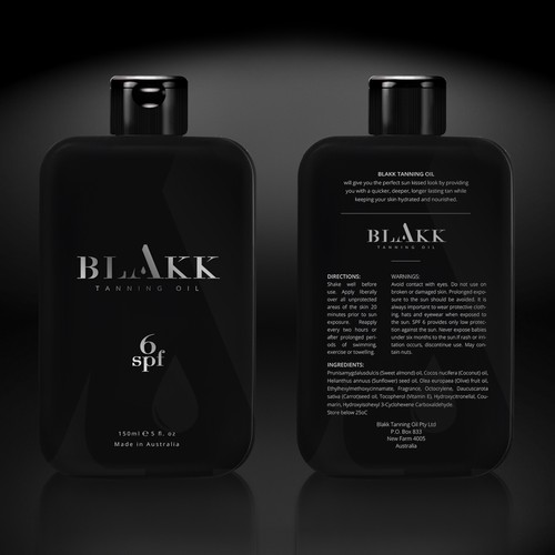 Package design for BLAKK Tanning Oil