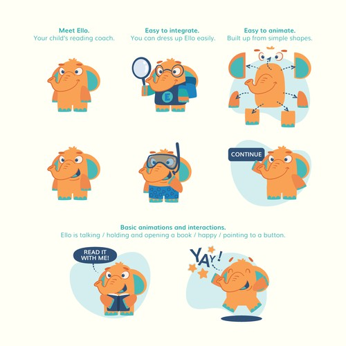 Elephant character concept for kids literacy app [orange color variant]