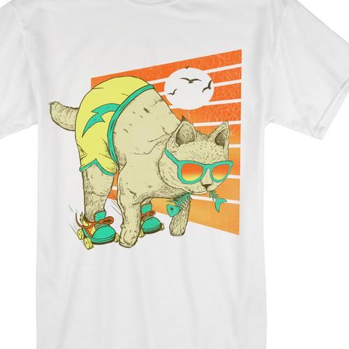 cat tshirt illustration