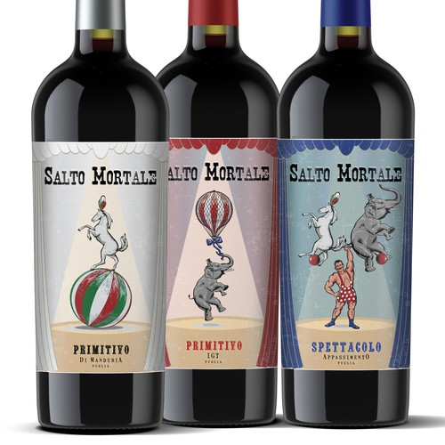 Salto Mortale - set of labels for Italian wines.