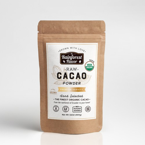 Raw Cacao label